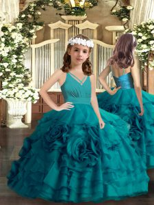Excellent Sleeveless Floor Length Ruffled Layers and Hand Made Flower Zipper Pageant Dress for Teens with Teal