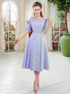 Vintage V-neck Half Sleeves Zipper Winning Pageant Gowns Blue