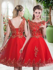 Nice Sleeveless Lace Up Knee Length Beading and Appliques Winning Pageant Gowns