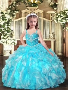 Sleeveless Beading and Ruffles Lace Up Winning Pageant Gowns