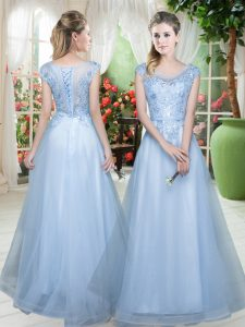 Light Blue Lace Up Scoop Lace Pageant Dress for Girls Tulle Cap Sleeves