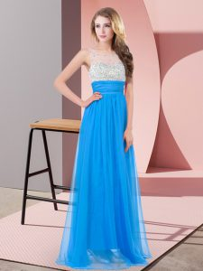 Baby Blue Empire Beading Winning Pageant Gowns Side Zipper Chiffon Sleeveless Floor Length