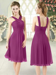 Super Ruching Pageant Dress Womens Purple Zipper Sleeveless Knee Length
