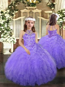Tulle Halter Top Sleeveless Lace Up Beading and Ruffles Pageant Gowns in Lavender