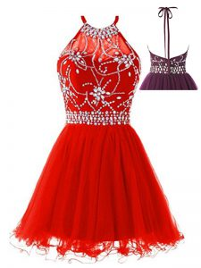 Custom Made Red Halter Top Backless Beading Evening Gowns Sleeveless