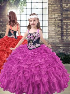 Hot Sale Organza Sleeveless Floor Length High School Pageant Dress and Embroidery and Ruffled Layers