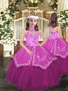 Fantastic Floor Length Lace Up Little Girl Pageant Dress Lilac for Party and Sweet 16 and Wedding Party with Embroidery