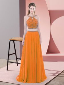 Sleeveless Chiffon Sweep Train Backless Pageant Dress Wholesale in Orange with Beading