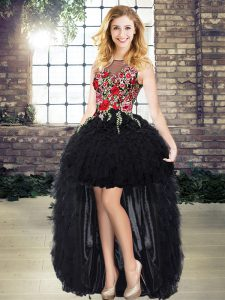 Ideal Black Sleeveless Organza Lace Up Pageant Dress Wholesale for Prom and Party