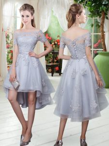 Grey A-line Off The Shoulder Short Sleeves Tulle High Low Lace Up Appliques Pageant Dress for Teens