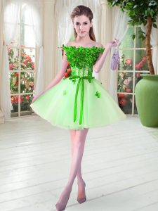 Discount Mini Length A-line Sleeveless Apple Green Pageant Dress Wholesale Lace Up