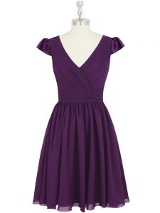 Pretty Empire Pageant Dress for Teens Purple V-neck Chiffon Cap Sleeves Mini Length Zipper
