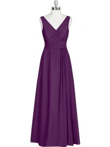 Eggplant Purple V-neck Zipper Ruching Pageant Dress for Girls Sleeveless