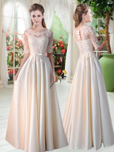 Sophisticated Floor Length Empire Half Sleeves Champagne Pageant Dress for Teens Lace Up