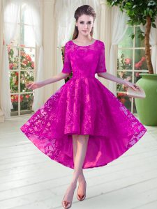 Custom Design Fuchsia Half Sleeves High Low Lace Zipper Pageant Dress