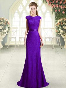 Romantic Dark Purple Sleeveless Lace Sweep Train Backless Pageant Dress Wholesale for Prom and Party