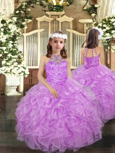 Low Price Beading and Ruffles Pageant Dress for Teens Lilac Lace Up Sleeveless Floor Length