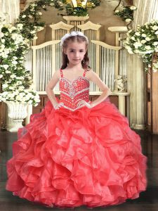 Floor Length Coral Red Little Girl Pageant Dress Straps Sleeveless Lace Up