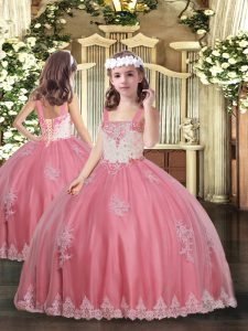 Amazing Watermelon Red Kids Pageant Dress Party and Wedding Party with Appliques Straps Sleeveless Lace Up