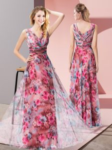 Custom Designed V-neck Sleeveless Printed Winning Pageant Gowns Pattern Zipper