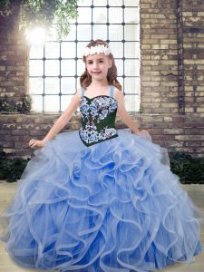 Embroidery and Ruffles Pageant Dress Light Blue Lace Up Sleeveless Floor Length