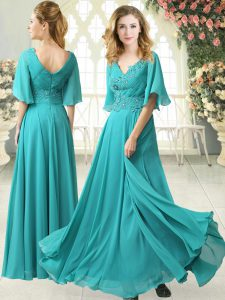 Custom Designed Aqua Blue Chiffon Zipper Evening Gowns Half Sleeves Floor Length Sweep Train Beading and Lace