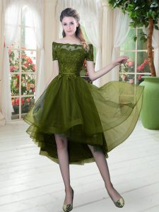 Tulle Off The Shoulder Short Sleeves Lace Up Lace Glitz Pageant Dress in Olive Green