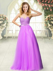 Chic Lilac Sleeveless Beading Floor Length High School Pageant Dress