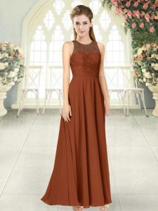 Edgy Sleeveless Floor Length Lace Backless High School Pageant Dress with Brown