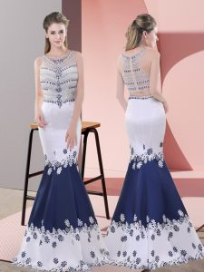 Fabulous Blue And White Sleeveless Floor Length Embroidery Zipper Pageant Dress for Teens