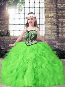 Tulle Straps Sleeveless Lace Up Embroidery and Ruffles High School Pageant Dress in