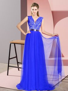 Sleeveless Tulle Sweep Train Zipper Pageant Dress Wholesale in Royal Blue with Beading and Lace