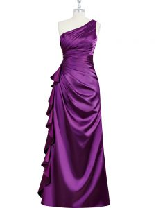 Sumptuous Purple Column/Sheath Elastic Woven Satin One Shoulder Sleeveless Beading and Ruching and Pleated Floor Length Side Zipper Pageant Gowns