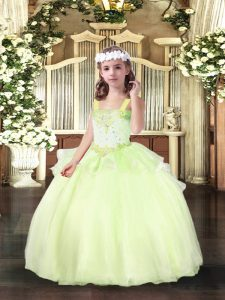 Custom Made Straps Sleeveless Organza Little Girl Pageant Gowns Beading Lace Up