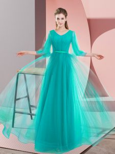 Fancy V-neck Long Sleeves Pageant Dress Womens Floor Length Beading Turquoise Tulle