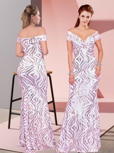 Off The Shoulder Sleeveless Sequined Pageant Dress for Womens Ruching Zipper