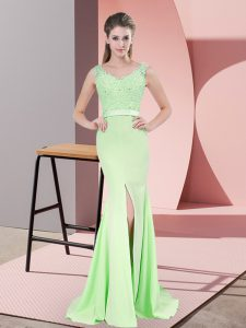 Extravagant Apple Green Sleeveless Beading and Lace Zipper Pageant Dress Wholesale