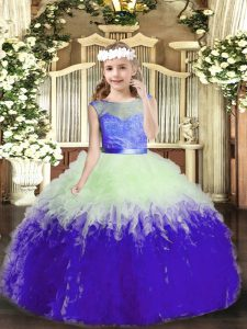Multi-color Scoop Backless Lace and Ruffles Pageant Dress for Teens Sleeveless