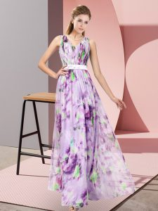 Exquisite Printed Sleeveless Floor Length Evening Gowns and Pattern