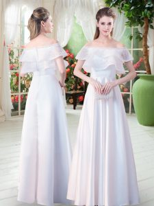 Fashionable White Zipper Pageant Dress for Teens Lace Short Sleeves Floor Length