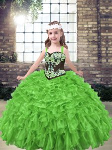 Pretty Sleeveless Lace Up Floor Length Embroidery and Ruffles High School Pageant Dress