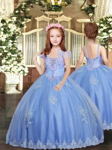 Baby Blue Sleeveless Floor Length Appliques Lace Up Pageant Dress