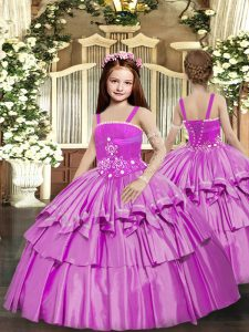 Lilac Straps Neckline Beading and Ruffled Layers Pageant Dress Sleeveless Lace Up