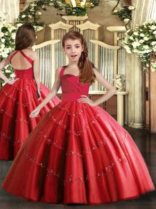 Latest Red Tulle Lace Up Pageant Dress Womens Sleeveless Floor Length Beading