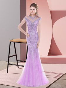 Mermaid Cap Sleeves Lilac Pageant Dress for Womens Sweep Train Zipper