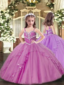 Floor Length Ball Gowns Sleeveless Lilac Pageant Gowns Lace Up