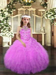 Dazzling Ball Gowns Kids Pageant Dress Lilac Halter Top Tulle Sleeveless Floor Length Lace Up