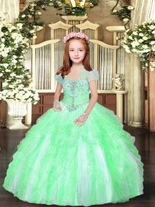 Straps Sleeveless Tulle Pageant Gowns Beading and Ruffles Lace Up