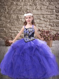 Super Straps Sleeveless Lace Up Evening Gowns Purple Tulle