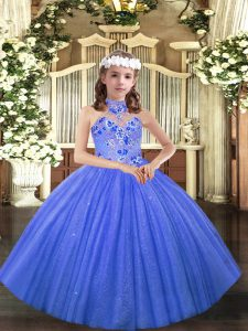 Blue Evening Gowns Party and Sweet 16 and Wedding Party with Appliques Halter Top Sleeveless Lace Up